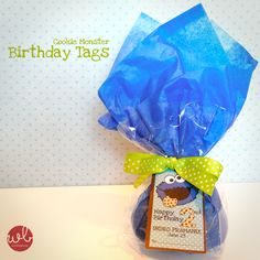 printable Cookie Monster birthday tags