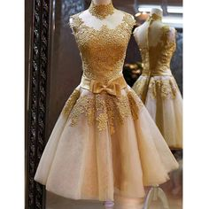 Princess High Neck Gold Lace Appliqued Homecoming Dresses,Short Party –…