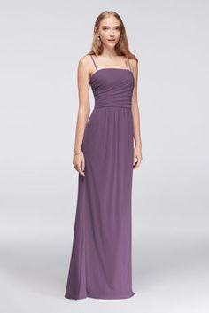 Long Soft Mesh Dress with Spaghetti Straps 4XLF19428