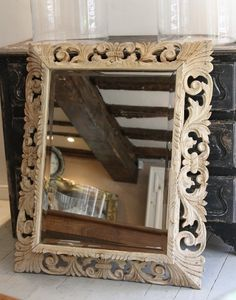 19c French carved oak mirror