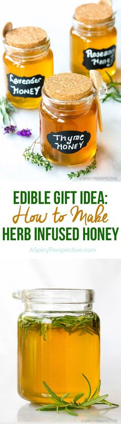How to Make Herb Infused Honey - A marvelous edible gift for the holidays. Make herb honey, lavender honey, and other flavored honey recipes with Herb Recipes, Honey Recipes, Baby Food Recipes, Healthy Recipes, Jelly Recipes, Flavored Honey Recipe, Food Storage, Cooking Tips, Cooking Recipes