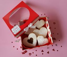 Gift box with alfajores. Valentines day