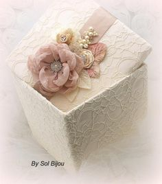 ****MADE UPON REQUEST  ***This listing is for a keepsake box as shown or in any color combination.   This luxurious Sol Boutique girl-baby keepsake box is an exquisite heirloom accessory, which you and your loved ones will be able to cherish for many years to come. This box has been covered in a a
