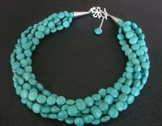 Turquoise Statement NecklaceChunky MultiStrand by stellaart, $70.00