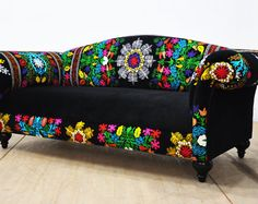 Suzani couch black passion by namedesignstudio on Etsy Bohemian Furniture, Funky Furniture, Home Decor Furniture, Unique Furniture, Diy Home Decor, Furniture Design, Sofa Upholstery, Upholstered Sofa, Sofa Cumbed Design