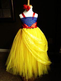 Snow White inspired yellow/blue princess tutu dress handmade matching hair-bow headband new born-6Yr