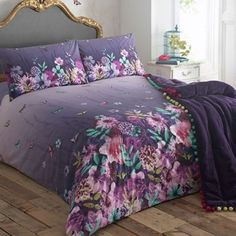 Brighten up your bedroom with this beautiful butterfly garden printed bedding set from Butterfly Home by Matthew Williamson. Set upon a rich purple background, this set is reversible and is complete with two matching pillow cases.