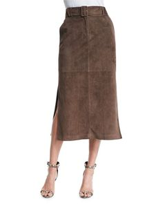 The perfect brown suede skirt.
