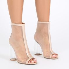 PDXHB NEW YORK FLARED PERSPEX HEELED MESH BOOTS IN NUDE
