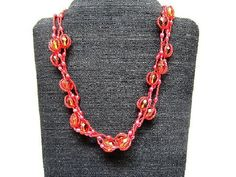 Necklace Long Topaz Scarlet Multi Strand Beadwork