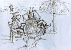 """17 /  DANIELA DA RIVA, """"Colazione al lago"""", china su carta, 30 x 20 cm."""