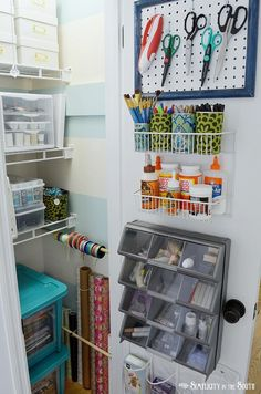 Craft closet organization ideas Wrapping paper, ribbon, back of the door storage baskets and bins, pegboard for scissors. Love the small swatch of pegboard instead of a large piece.