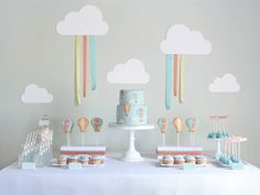 Kara's Party Ideas Hot Air Balloon Up in the Sky Boy Girl Birthday Party Planning Ideas Baby Birthday, First Birthday Parties, First Birthdays, Rainbow Birthday, Birthday Ideas, Baby Shower Balloons, Birthday Balloons, Theme Bapteme, Baby Sprinkle