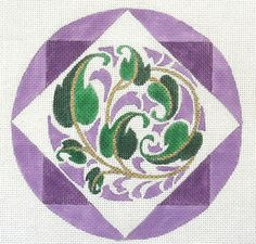 Purple Circle with Flowers Handpainted needlepoint canvas