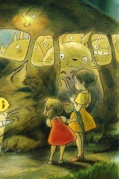 Satsuki, Mei, Totoro & the Catbus | My Neighbor Totoro (1988) | Miyazaki | Studio Ghibli