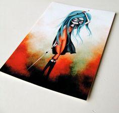 "ACEO ATC Artist Trading Card - ""A Hard Day's Night' - Mini Fine Art Print by Jessica Grundy - 2.5x3.5"" Super Hero Girl. $3.00, via Etsy."