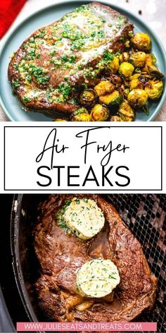 Tender, juicy Air Fryer Steaks with Garlic Butter are mouthwatering! Learn how to make a perfectly seasoned steak in your Air Fryer every single time with a homemade garlic butter to top it with. Such an easy dinner that's amazing! Macaroni And Cheese Casserole, Cheesy Broccoli Casserole, Easy Summer Dinners, Easy Meals, Beet Recipes, Cooking Recipes, Seasoned Steak, Homemade Garlic Butter, Air Fryer Steak