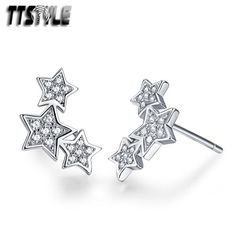 TTStyle RHODIUM 925 Sterling Silver Star Pendant Necklace Clear CZ NEW