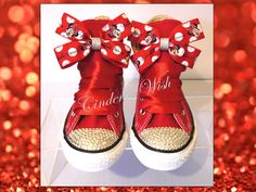 Youth Minnie Mouse Converse / Customised converse / by CindersWish
