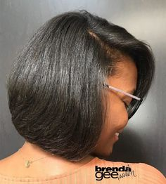 60 Showiest Bob Haircuts for Black Women Smooth Black Hair Bob Curled Bob Hairstyle, Bob Hairstyles For Round Face, Bob Hairstyles For Fine Hair, Medium Bob Hairstyles, Bob Haircuts, Short Relaxed Hairstyles, Layered Bob Hairstyles For Black Women, Bob Haircut Black Hair, Girl Hairstyles