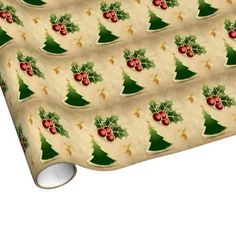Shining Holy Berry, Christmas Tree and Stars pattern on wrapping paper for holidays.