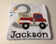 Fire Truck Birthday Shirt Firetruck Birthday Shirt by KalamityKids