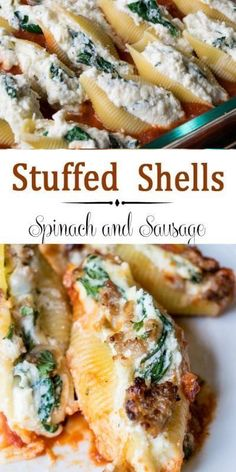 Sausage, Ricotta, and Spinach Stuffed Shells ~ Easy Cheesy... This recipe combines ricotta, mozzarella, and paresean cheeses, and spinach stuffed into the shells. A layer of Italian sausage completes the meal. #dinnertime #italianfood #pasta