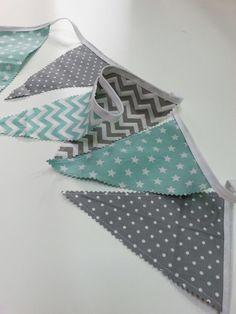 Bunting Flags for a Nursery Grey * Mint * Stars * Dots* Chevron Made by : Bilbuli
