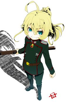 youjo senki tanya degurechaff hiroshi ohnuma ahoge belt blonde boots female full body green eyes gun loli looking at viewer military military uniform ponytail rifle short hair simple background smile solo standing tied hair uniform weapon white background Tanya Degurechaff, Tanya The Evil, Hooked On A Feeling, Best Waifu, Anime Characters, Fictional Characters, Gaming Memes, Manga Games, Anime Artwork