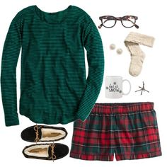 """I could use some cute pajama shorts """"~Christmas Morning~"""" by thepinkandgreenprep1 on Polyvore"""