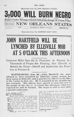 """Announcement for a Lynching -- as reprinted in """"The Crisis"""" from the New Orleans States newspaper, 1919"""