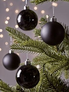 NEW Twelve Small Shatterproof Baubles - Black - Christmas Tree Decorations - Christmas Black Christmas Tree Decorations, Black Christmas Trees, Christmas Trends, Noel Christmas, Modern Christmas, Christmas Baubles, Christmas Colors, Christmas Swags, Burlap Christmas