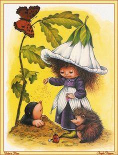 Victoria Plum - Victoria Gives A Flying Lesson by Angela Rippon Sarah Kay, Victoria Plum, Plum Art, Cicely Mary Barker, Gif Animé, Flower Fairies, Vintage Greeting Cards, Fairy Land, Whimsical Art