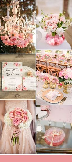 pink and gold glitter summer wedding color ideas