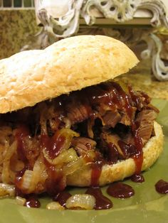 Chopped BBQ Brisket Sandwich for father's day dinner. Will try making in oven (not slow cooker)