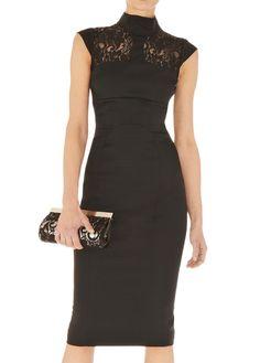 Black Contrast Sheer Lace Sleeveless Slim Dress 61.33
