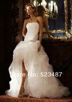 Free Shipping Strapless Organza High-low Wedding Dress Bridal Gown Dresses Pickup Skirt Ruched $159.00