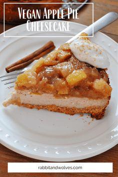 Delicious Vegan Recipes, Vegan Desserts, Dessert Recipes, Vegan Breakfast Recipes, Vegan Sweets, No Bake Desserts, Apple Pie Cheesecake, Vegan Cheesecake, Pie Tops