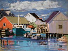 Gilles Bédard Peggy's Cove, Nouvelle-Écosse Colorful Houses, Colourful Art, Beach Wallpaper, Boat Painting, Watercolour Art, Fishing Villages, Acrylic Art, Nova Scotia, Lighthouses
