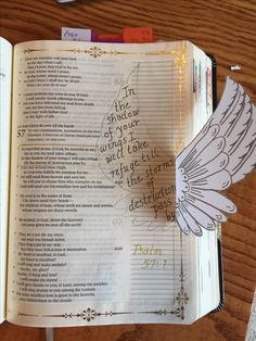 Psalm Under His Wings bible journaling Scripture Art, Bible Art, Bible Verses, Faith Bible, My Bible, Psalm 57, Everyday Prayers, Bible Illustrations, Bible Prayers