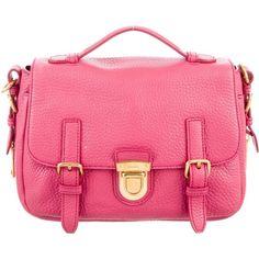 Pre-owned Prada Vitello Danio Pattina Bag ($745) ❤ liked on Polyvore featuring bags, handbags, pink, prada purses, genuine leather purse, leather man bags, genuine leather handbags and zip purse
