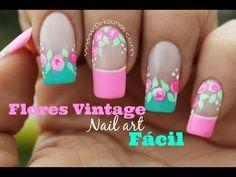 Decoracion de uñas FACIL rosas vintages - Easy vintage nail art - YouTube Vintage Nail Art, Bella Nails, Pointy Nails, Beautiful Nail Art, Vintage Roses, Nail Tech, Cute Nails, Nail Designs, Nail Polish