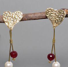 Tumbaga heart earrings,  hammered stud earrings, Long heart stud earrings, heart earrings with white pearls, heart earrings with red stone by NataliaNorenasilver on Etsy