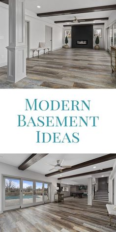 These modern basement ideas are so light and bright! With big windows that lead into the pool area, white walls, light trim, beams on the ceiling, and. Basement Makeover, Basement Renovations, Home Renovation, Home Remodeling, Basement Windows, Basement Walls, Basement Bedrooms, Basement Bathroom, Walkout Basement