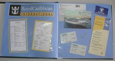 Simple cruising scrapbook layout using photocopies of the schedule, Royal Caribbean logo, a postcard and our room keys.