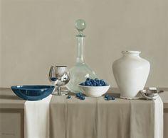 Thompsons Galerie | Jagody i niebieski i biały rozmieszczenie Tony De Wolf 2015 wystawy w Cavendish Street,