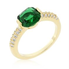 Green Cushion Cut Cubic Zirconia Engagement Ring