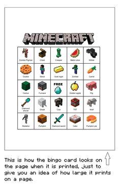Minecraft Bingo - Etsy printable bingo $5.00