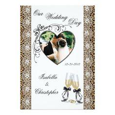 Cheetah Print Champagne Glass Wedding Invitations