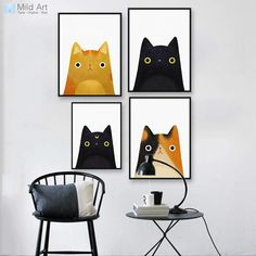 Modern Watercolor Cute Japanese Cat Poster Print A4 Hippie Wall Picture Kawaii Kids Room Home Deco Canvas Painting Gift No Frame